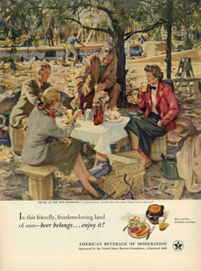 "Beer Belongs ""Picnic At The New Homesite"" Advertisement - Bar Room Wall Hanging"