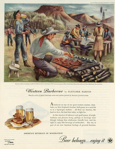 "Beer Belongs ""Western Barbecue"" Advertisement - Bar Room Decor"