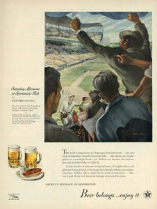 "Beer Belongs ""Saturday Afternoon At Sportsman's Park"" Advertisement - Bar Room Decor"