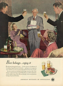 "Beer Belongs ""Birthday Party For Dad"" Advertisement - Bar Room Decor"