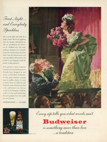 Budweiser Beer Advertisement - Bar Wall Decor - Man Cave Wall Hanging - Alcohol Print Ad
