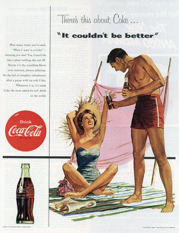 Coca Cola Advertisement - Man Cave Wall Hanging - 1950's Print Ad