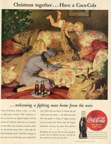Coca Cola Advertisement - Man Cave Wall Hanging - 1940's Print Ad