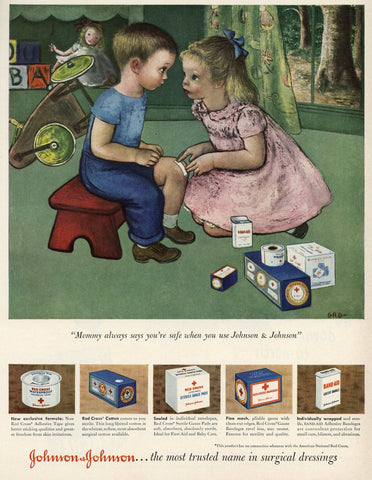 Johnson & Johnson Surgical Dressings Advertisement - First Aid Kit - Living Room Decor