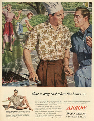 Arrow Sport Shirts Advertisement - Vintage Clothing Print Ad - Living Room Decor