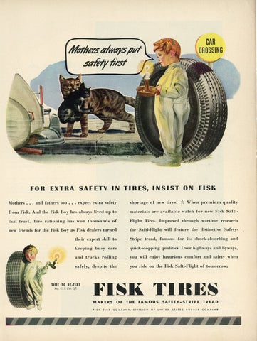 Fisk Tires Advertisement - Transportation Print Ad - Man Cave Decor - Gift For Car Enthusiast