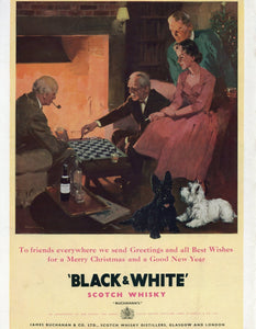 Black & White Scotch Whisky Advertisement - Vintage Bar Room Decor - Gift For Him