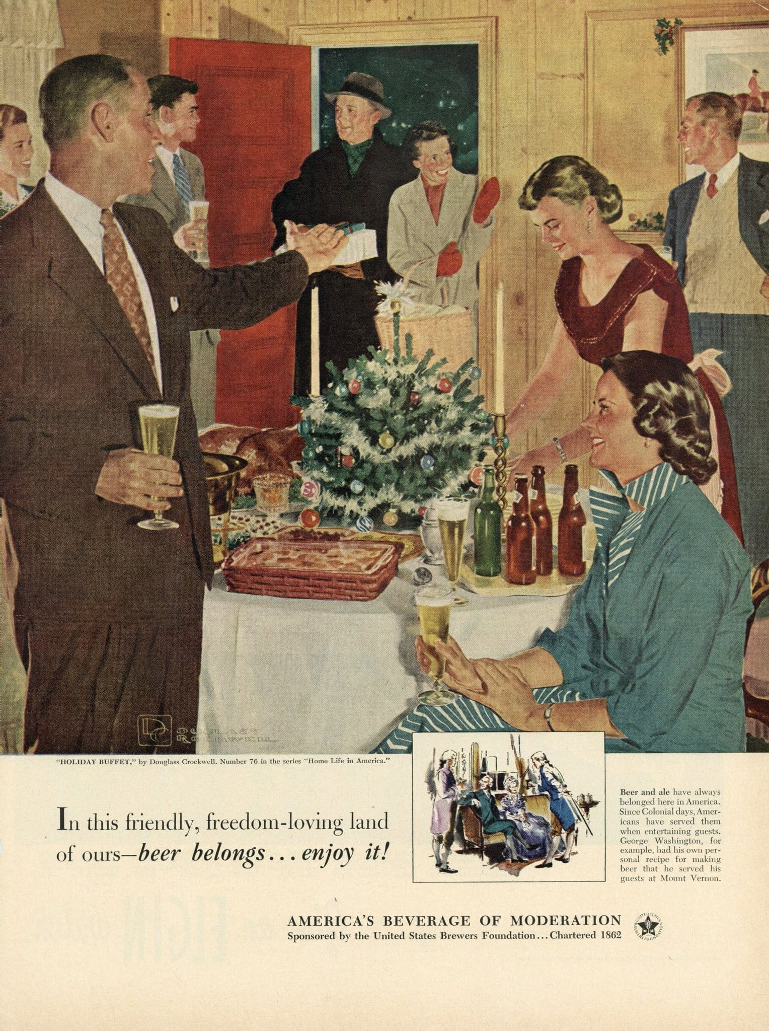 "Beer Belongs ""Holiday Buffet"" Advertisement - Vintage Bar Room Decor - Christmas Gift"