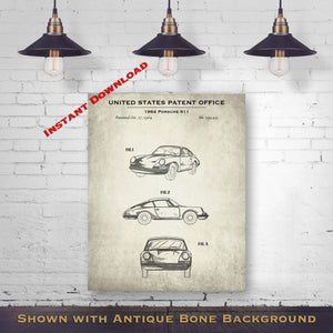 1964 Porsche 911 Patent Digital Download - Gift Idea For A Car Enthusiast - Antique Automobile Wall Decor - Instant Download