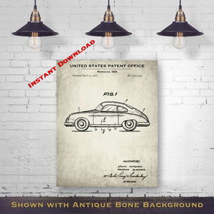 1962 Porsche 356 Patent Digital Download - Gift Idea For A Car Enthusiast - Antique Automobile Wall Decor - Instant Download