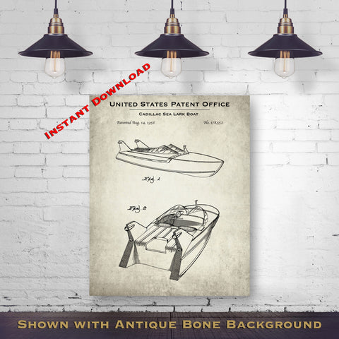 1956 Cadillac Sea Lark Boat Patent Digital Download - Lake House Wall Hanging - Instant Download