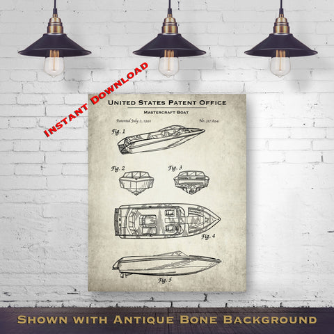 1991 Mastercraft Boat Patent Digital Download - Lake House Wall Hanging - Instant Download