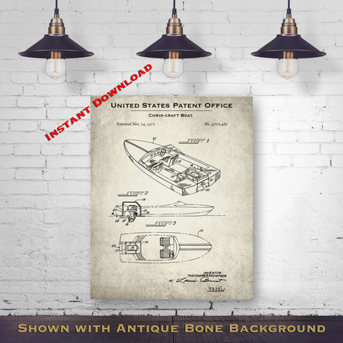 1972 Chris-Craft Boat Patent Digital Download - Lake House Wall Hanging - Instant Download
