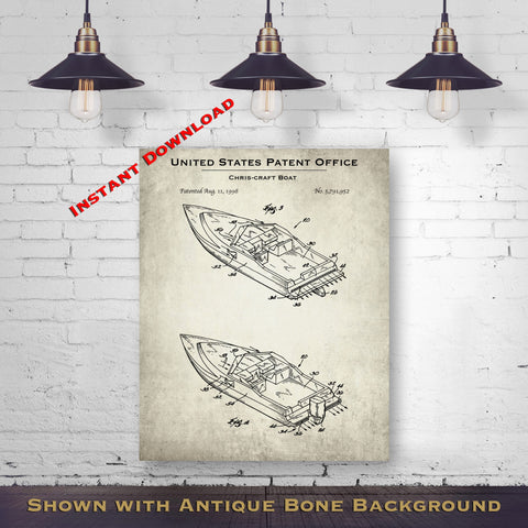 1998 Chris-Craft Boat Patent Digital Download - Lake House Wall Hanging - Instant Download