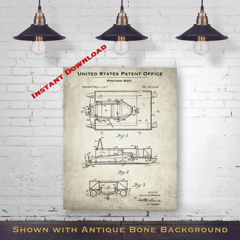 1972 Pontoon Boat Patent Digital Download - Lake House Wall Hanging - Instant Download