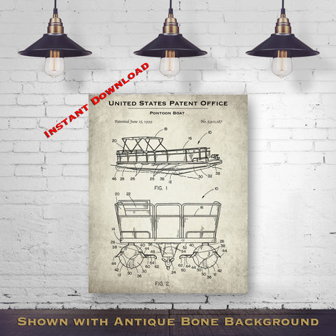 1999 Pontoon Boat Patent Digital Download - Lake House Wall Hanging - Instant Download