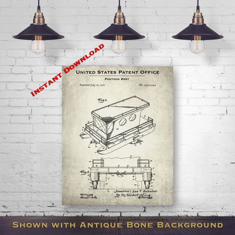 1961 Pontoon Boat Patent Digital Download - Lake House Wall Hanging - Instant Download