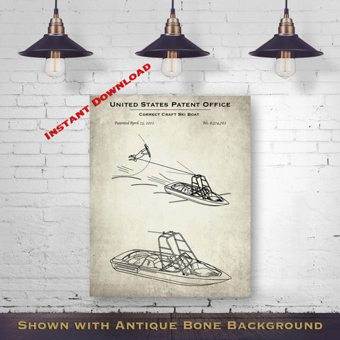 2002 Correct Craft Boat Patent Digital Download - Lake House Wall Hanging - Instant Download