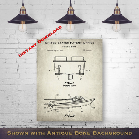 1996 Tige Ski Boat Patent Digital Download - Lake House Wall Hanging - Instant Download
