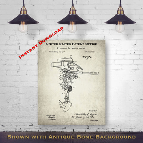 1917 Evinrude Outboard Motor Patent Digital Download - Lake House Wall Hanging - Instant Download