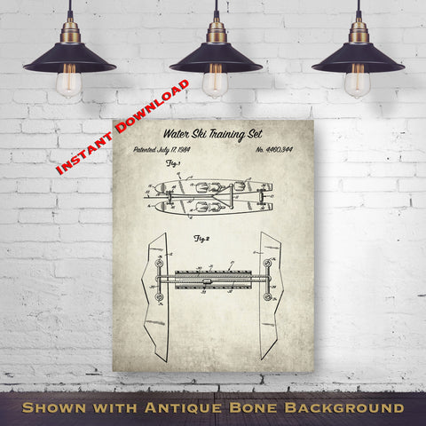 1984 Water Ski Training Set Patent Digital Download - Lake House Wall Decor - Water Skier Gift Idea - Instant Download