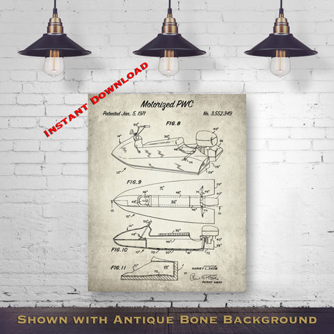 1971 Motorized PWC Patent Digital Download - Lake House Wall Decor - Jet Ski Gift Idea - Instant Download
