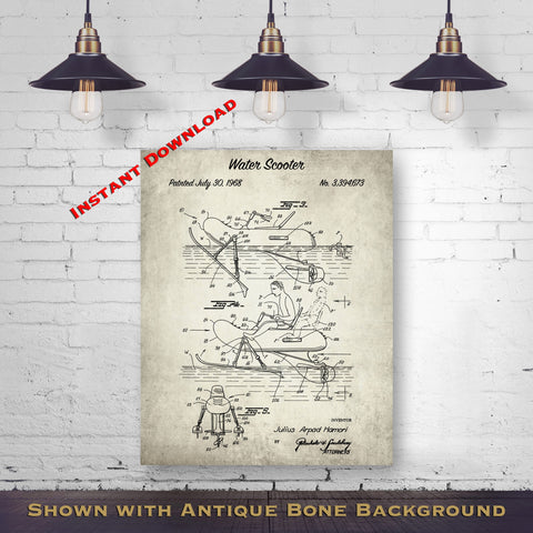 1968 Water Scooter Patent Digital Download - Lake House Wall Decor - Water Sport Gift Idea - Instant Download