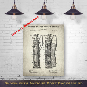 1905 Golf Bag Patent Digital Download - Gift Idea For A Golfer - Golfing Wall Decor - Instant Download