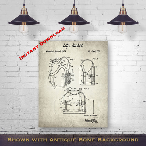 1969 Life Jacket Patent Digital Download - Lake House Wall Decor - Lifeguard Gift Idea - Instant Download