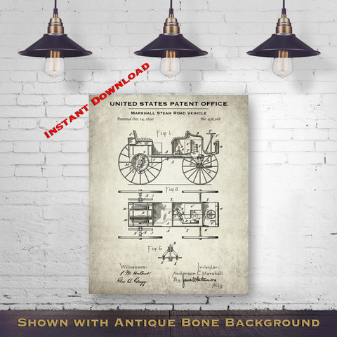 1890 Marshall Steam Road Vehicle Patent Digital Download - Gift Idea For A Car Enthusiast - Antique Automobile Wall Decor - Instant Download