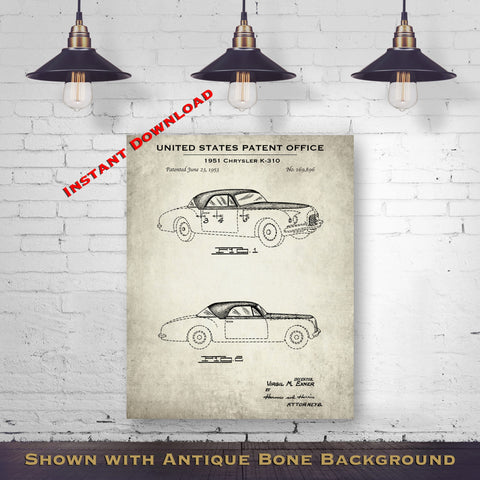 1951 Chrysler K-310 Patent Digital Download - Gift Idea For A Car Enthusiast - Vintage Automobile Wall Decor - Instant Download