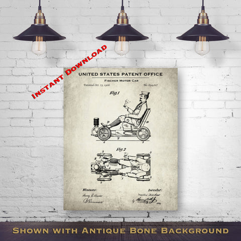 1906 Fischer Motor Car Patent Digital Download - Gift Idea For A Car Enthusiast - Antique Automobile Wall Decor - Instant Download