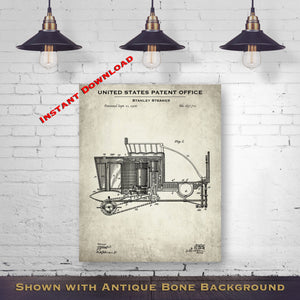 1900 Stanley Steamer Patent Digital Download - Gift Idea For A Car Enthusiast - Antique Automobile Wall Decor - Instant Download