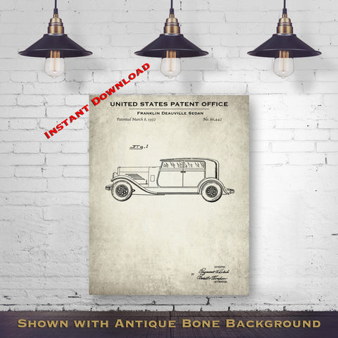 1932 Franklin Deauville Sedan Patent Digital Download - Gift Idea For A Car Enthusiast - Antique Automobile Wall Decor - Instant Download