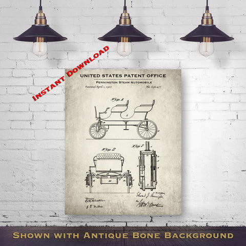 1902 Pennington Steam Automobile Patent Digital Download - Gift Idea For A Car Enthusiast - Antique Automobile Wall Decor - Instant Download