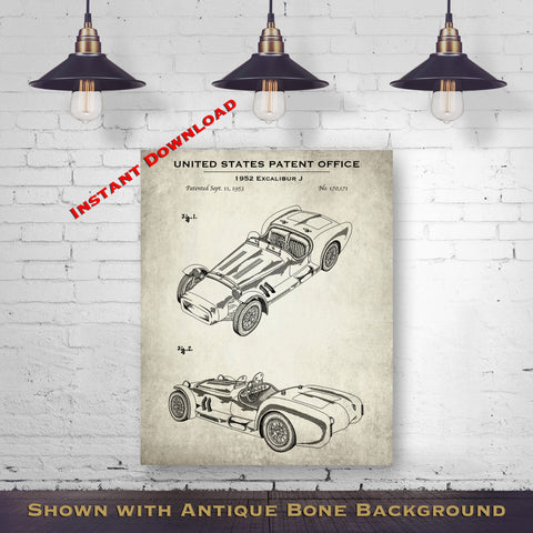 1952 Excalibur J Patent Digital Download - Gift Idea For A Car Enthusiast - Vintage Automobile Wall Decor - Instant Download