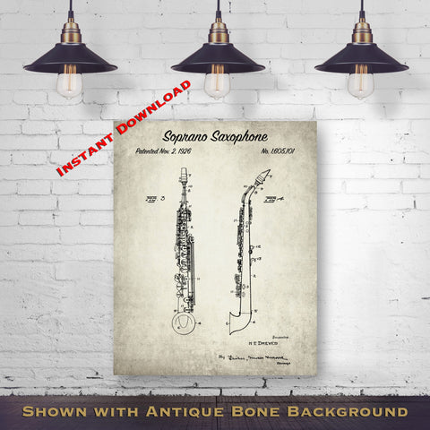1926 Soprano Saxophone Patent Digital Download - Music Room Wall Decor - Saxophonists Gift Idea - Instant Download