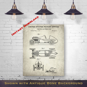 1920 Miller Race Car Patent Digital Download - Gift Idea For A Car Enthusiast - Antique Automobile Wall Decor - Instant Download