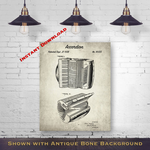 1938 Accordion Patent Digital Download - Music Room Wall Decor - Accordionists Gift Idea - Instant Download