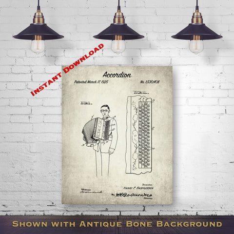 1925 Accordion Patent Digital Download - Music Room Wall Decor - Accordionists Gift Idea - Instant Download