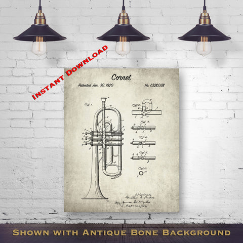 1920 Cornet Patent Digital Download - Music Room Wall Decor - Cornetist Gift Idea - Instant Download