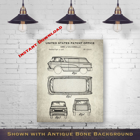 1956 GMC L'Universelle Patent Digital Download - Gift Idea For A Car Enthusiast - Vintage Automobile Wall Decor - Instant Download