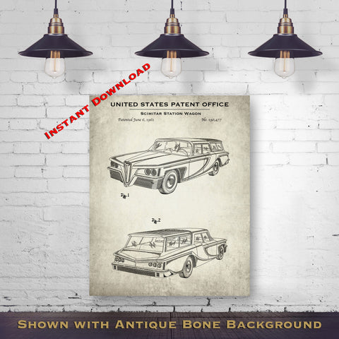1961 Scimitar Station Wagon Patent Digital Download - Gift Idea For A Car Enthusiast - Vintage Automobile Wall Decor - Instant Download