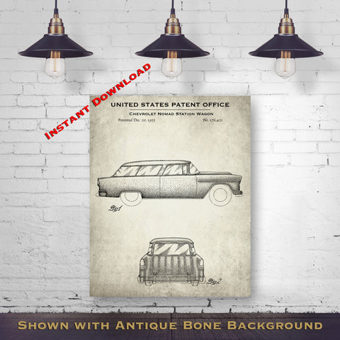 1955 Chevrolet Nomad Station Wagon Patent Digital Download - Gift Idea For A Car Enthusiast - Vintage Automobile Wall Decor - Instant Download