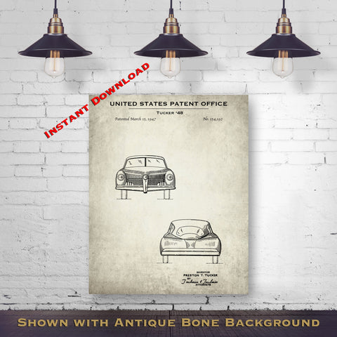1947 Tucker '48 Patent Digital Download - Gift Idea For A Car Enthusiast - Vintage Automobile Wall Decor - Instant Download
