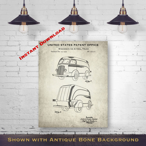 1939 Wisconsin Ice & Coal Truck Patent Digital Download - Gift Idea For A Car Enthusiast - Vintage Automobile Wall Decor - Instant Download