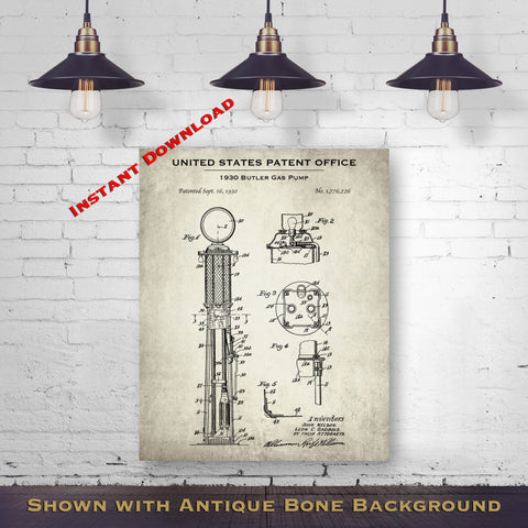 1930 Butler Gas Pump Patent Digital Download - Vintage Petroliana Wall Decor - Instant Download