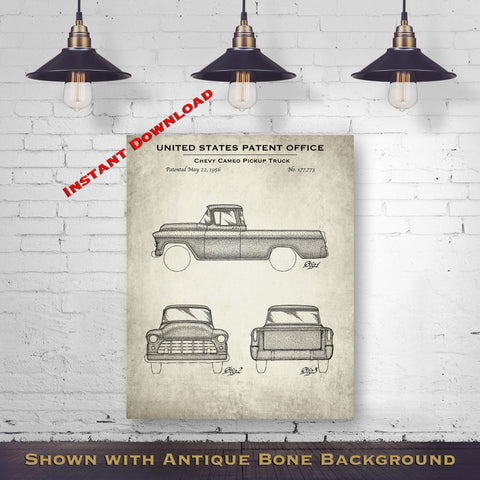 1956 Chevy Cameo Pickup Truck Patent Digital Download - Gift Idea For A Car Enthusiast - Vintage Automobile Wall Decor - Instant Download