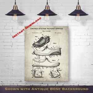 1988 Golf Shoes Patent Digital Download - Gift Idea For A Golfer - Golfing Wall Decor - Instant Download