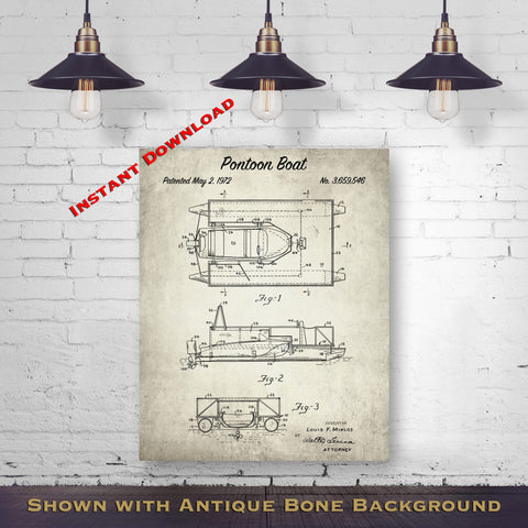 1972 Pontoon Boat Patent Digital Download - Beach House Wall Decor - Boating Gift Idea - Instant Download